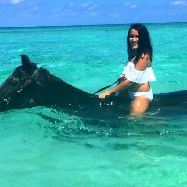 Horseback Riding with Sea Horses in the Cayman Islands with Pampered Ponies